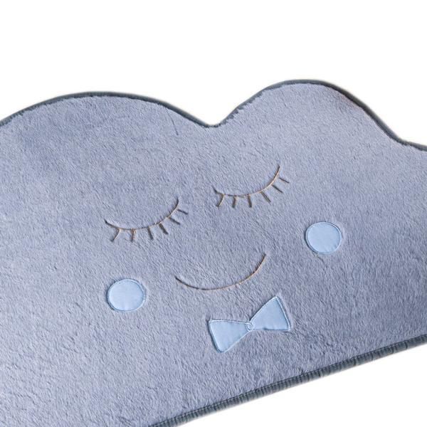 Imagem de Tapete para Quarto Infantil Antiderrapante Formato Baby Nuvem Tecido Pelúcia Bordada Cinza e Azul