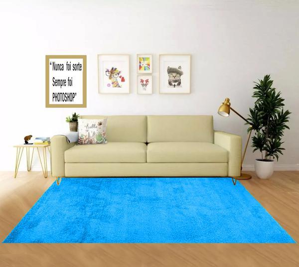 Imagem de tapete pelucia liso sala ou quarto retangular 0,70 x 1,40 antiderrapante azul turquesa