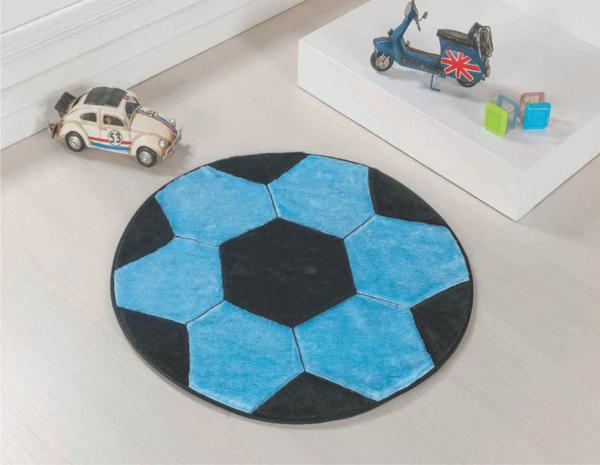 Imagem de Tapete Pelucia para Quarto Criança Bola Azul Turquesa*