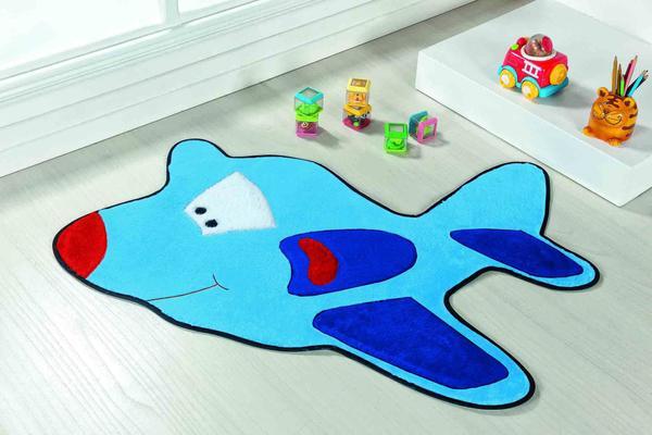 Imagem de Tapete Pelúcia Para Quarto Infantil Bebê Avião Azul Turquesa