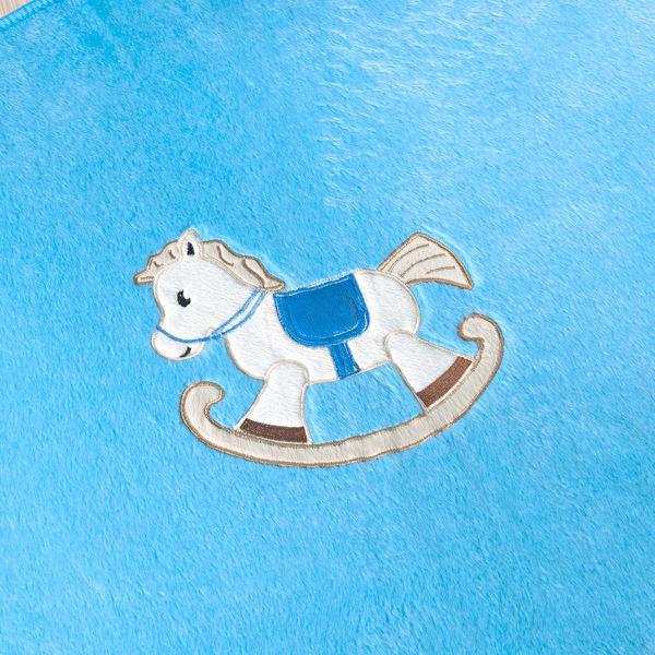 Imagem de Tapete Redondo de Pelúcia Bebê Cavalinho Azul Turquesa 78cm x 68cm Antiderrapante