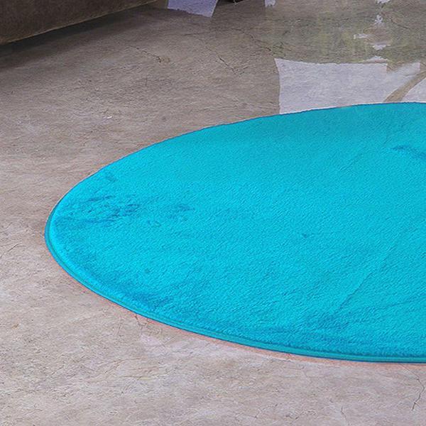 Imagem de Tapete Redondo De Sala E Quarto 1,10m x 1,10m Pelúcia - Azul Turquesa
