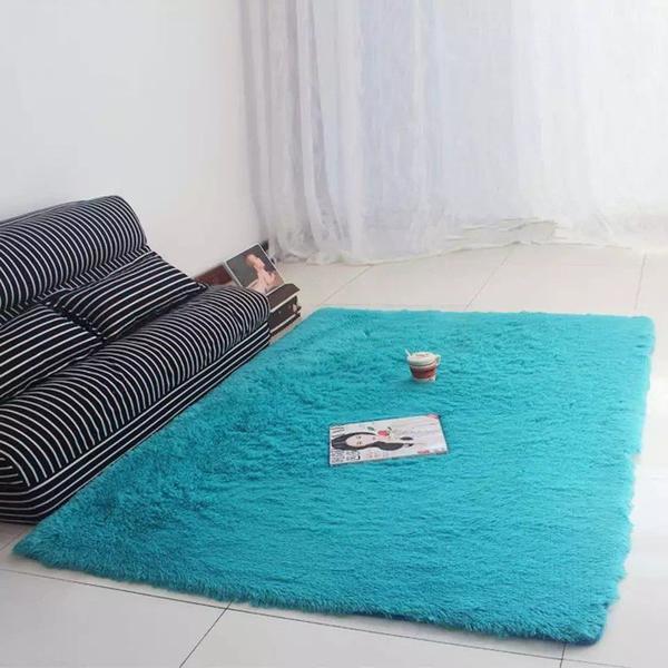 Imagem de Tapete Sala  Azul Bebê Felpudo Peludo Luxo 2,00x2,40 Mt