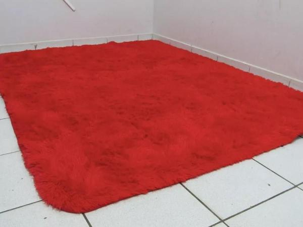 Imagem de Tapete Sala Peludo Felpudo Luxo 2,00 x 1,40  Pelo Macio Vermelho