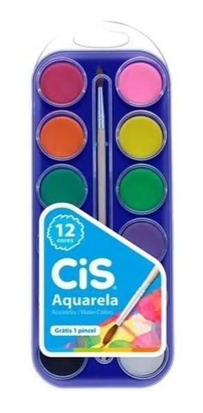 Imagem de Tinta Aquarela Estojo Kit Com 12 Cores Cis