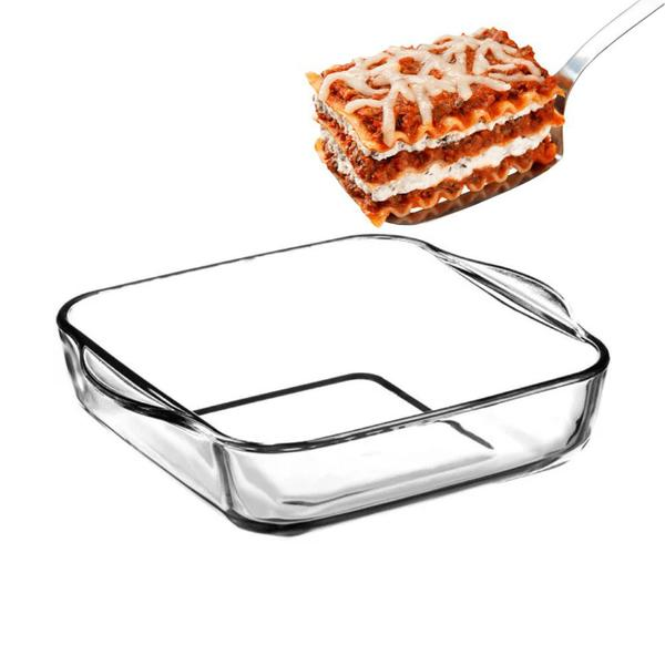 Imagem de Travessa Assadeira Quadrada Refratário em Vidro Borossilicato 1950 ml Transparente Lasanha Cozinha