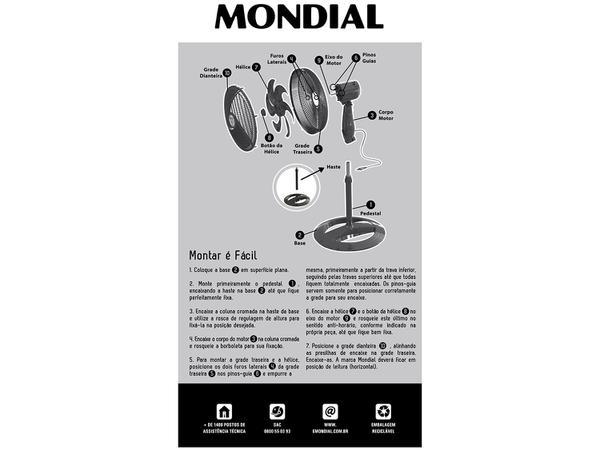 Imagem de Ventilador de Coluna Mondial Maxi Power - NV-61-6P-NP 40cm 3 Velocidades