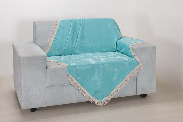 Imagem de Xale de Sofá Decoração Sala Tecido Jacquard 2,90 X 1,50 Azul Claro