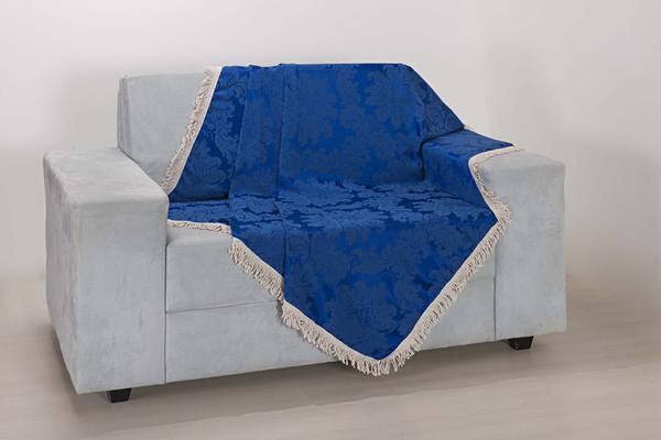 Imagem de Xale de Sofá Decoração Sala Tecido Jacquard 2,90 X 1,50 Azul Escuro