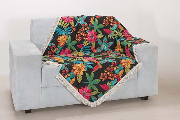 Imagem de Xale de Sofá Decoração Sala Tecido Jacquard 2,90 X 1,50 Colorido