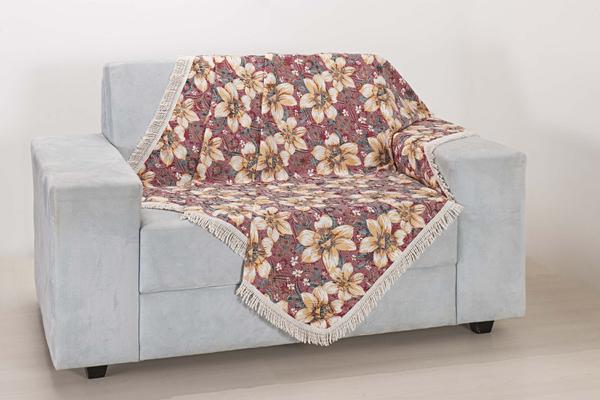 Imagem de Xale de Sofá Decoração Sala Tecido Jacquard 2,90 X 1,50 Flores