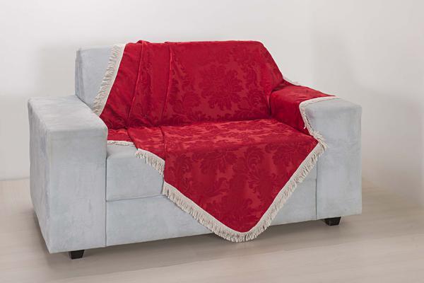 Imagem de Xale de Sofá Decoração Sala Tecido Jacquard 2,90 X 1,50 Vermelho