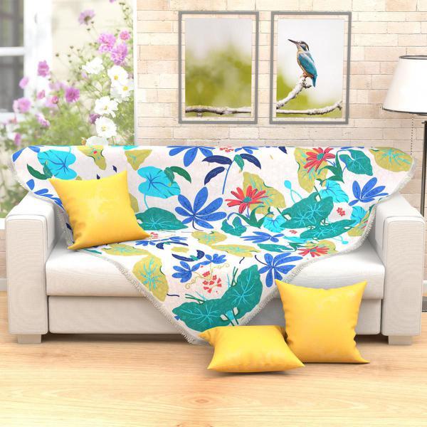 Imagem de Xale Manta para Sofá Floral Estampada 1,50m x 1,50m com Franja Tecido Jacquard