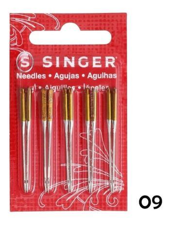 Imagem de 10 Agulhas Singer Para Máquinas Domesticas 2045 Nº09 Malhas