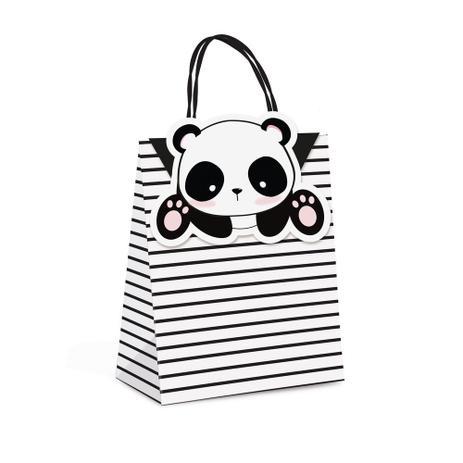fdafbdb1797eb8 10 Sacolas Papel P/Presente C/Fecho Panda P 21,5X15X8Cm - Cromus