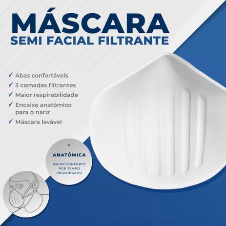 Imagem de 10 un. Máscara Anatômica Semi Facial Filtrante 3 Camadas (2 de tecido + 1 de espuma) Não Prende nas Orelhas