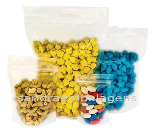 Imagem de 100 Sacos Stand Up Pouch Transparente Fecho Zip Lock 10x15x5