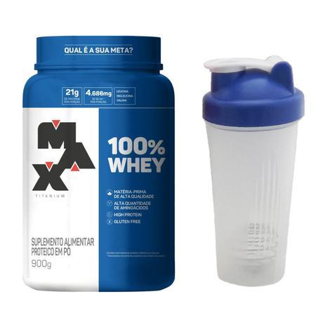 Imagem de 100% Whey Protein 900g Max Titanium + Coqueteleira 600ml