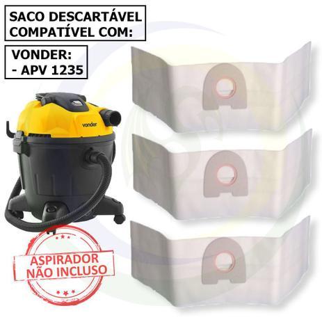 Imagem de 12 Saco Descartável para Aspirador de Pó Vonder Apv 1235 - 35 Litros
