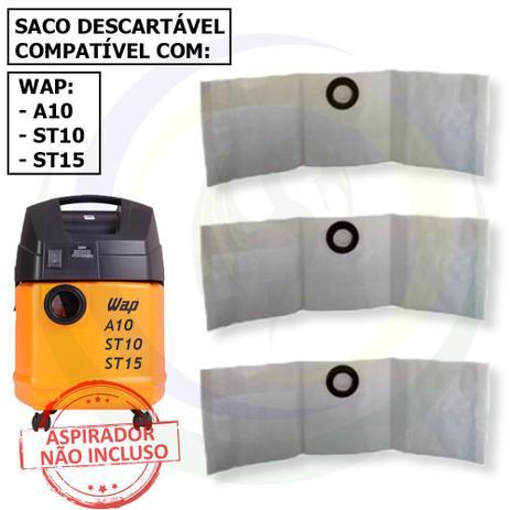 Imagem de 12 Saco Descartável para Aspirador de Pó Wap A10 / St10 / St15