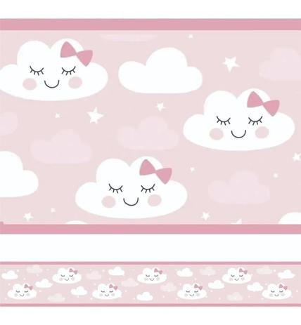Imagem de 2 Faixas Decorativas Infantil Papel Parede Chuva Nuvem