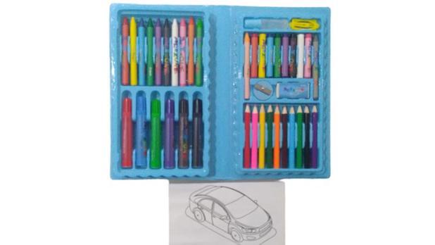 Imagem de 2 Kit Estojo Escolar Maleta Para Pintura Infantil Com 48 Peças Rosa e Azul - Regal