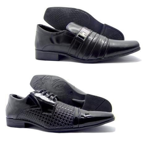 860307dba6 2 Sapatos Sociais Masculino Aberdeen Preto Verniz E Normal - Bertelli