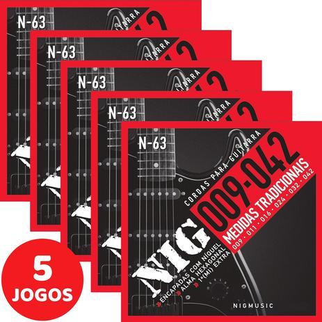Imagem de 5 Encordoamento Nig P/ Guitarra 09 042 N63 Encapadas Com Níquel