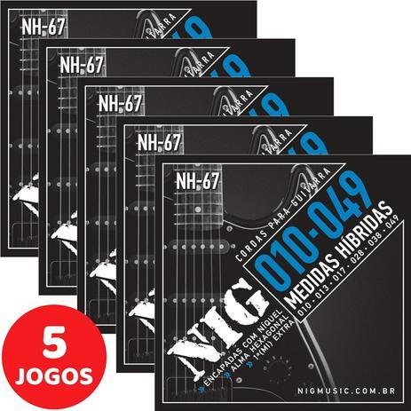 Imagem de 5 Encordoamento Nig P/ Guitarra Híbrido 010 049 NH67 Encapadas Com Níquel