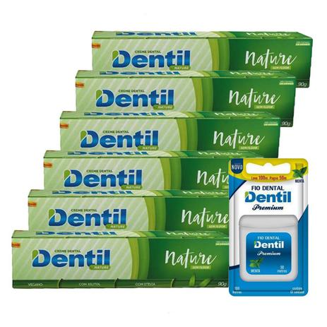 e8dd778cd06c7f 6 Creme Dentil Nature Vegano Stevia 90g + 1 Fio Dental