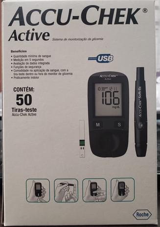 Imagem de Accu-Chek Active Kit Monitor de Glicemia Completo c/50 Tiras+01Lancetador+01Monitor+10 lancetas
