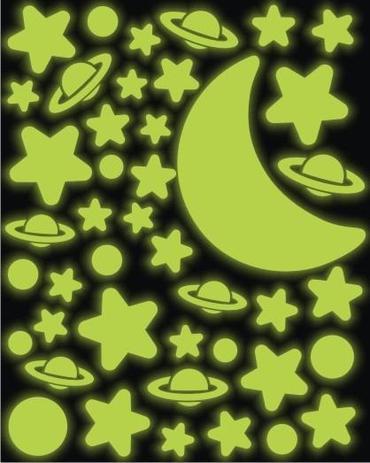 Imagem de Adesivo Brilha No Escuro - Galáxia - Estrelas - Planetas Lua