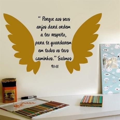 Imagem de Adesivo De Parede Frase Salmos 91:11 Tam P (76x50)cm