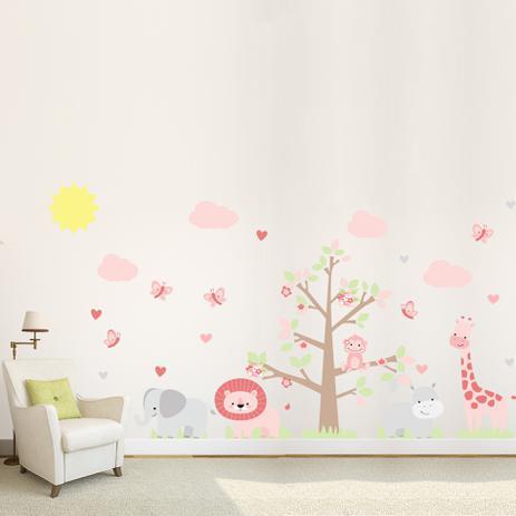 Adesivo de parede infantil para quarto safari menina quartinhos decora o magazine luiza - Papel infantil para pared ...