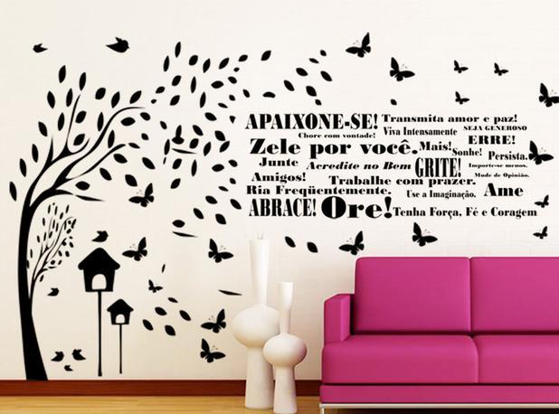 Adesivo Decorativo De Parede Arvore Com Frase Decoração Apaixone Amor Palavras Motivacional Gaudesivos
