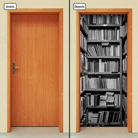 Imagem de Adesivo Decorativo de Porta - Estante de Livros  - 548cnpt