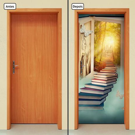 Imagem de Adesivo Decorativo de Porta - Pilha de Livros - 200cnpt
