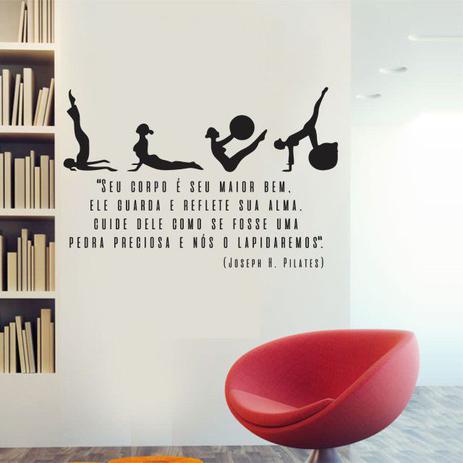 Imagem de Adesivo Decorativo Parede Frase Joseph Pilates Seu Corpo