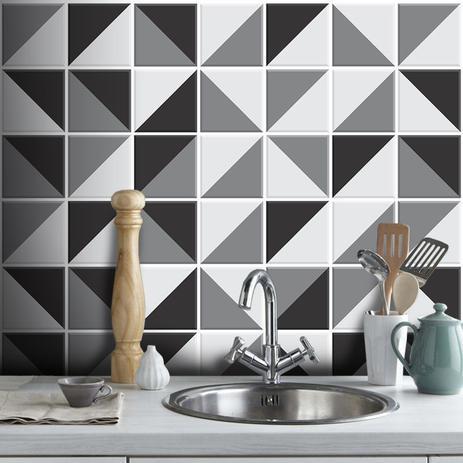 Imagem de Adesivo Destacável Azulejo para Cozinha Retângulo Preto