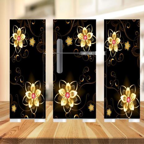 Imagem de Adesivo  geladeira completa preta e flores (03 peças 80x190)