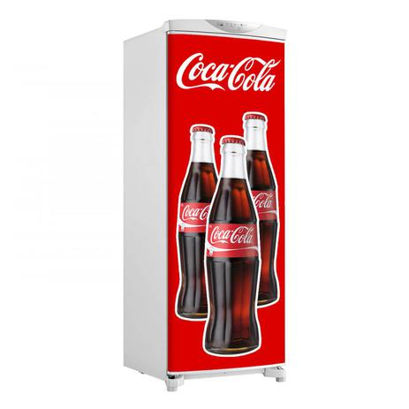 Imagem de Adesivo Geladeira Envelopamento Porta 3 Garrafas De Coca Cola - 180x65cm