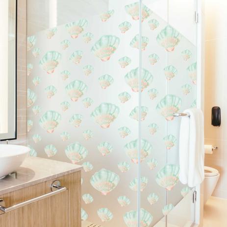 Imagem de Adesivo Para Vidro Box Banheiro Jateado Decorado Conchas Prova D'Agua