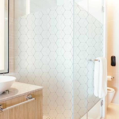 Imagem de Adesivo Para Vidro Box Banheiro Jateado Decorado Cubos prova D'Agua