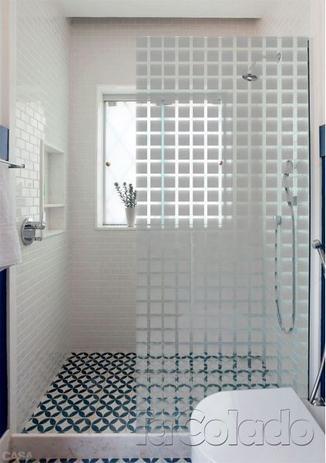 Imagem de Adesivo Para Vidro Box Banheiro Jateado para vidros Quadrado 0,61m Prova D'Agua