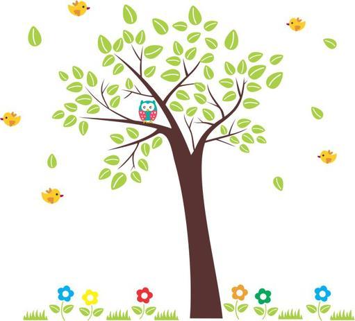 4c8f4acd1 Adesivo Parede Árvore Coruja Pássaros - Mundo dos adesivos ...
