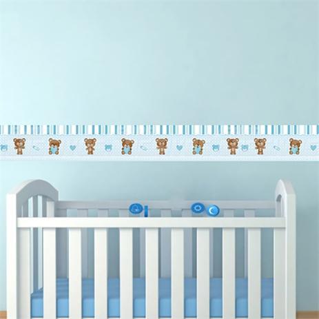 e4ca81c31 Adesivos de Parede Faixa Decorativa Kit com 09 Para Quarto Infantil Ursinho  Azul - Decore fácil