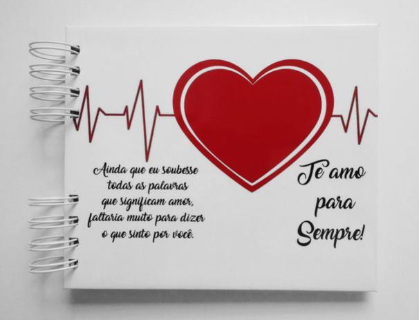 Imagem de Álbum de fotos para scrapbook Te Amo Para Sempre V2 15,7x18,5cm presente namorados