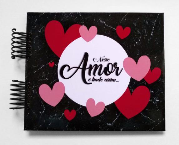 Imagem de Álbum de fotos scrapbook Nosso Amor é Lindo Assim 15,7x18,5cm presente namorados