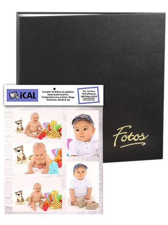 Imagem de Álbum Mega 500 Fotos 10x15 Preto Ferragem + Refil 100 Fotos Extra