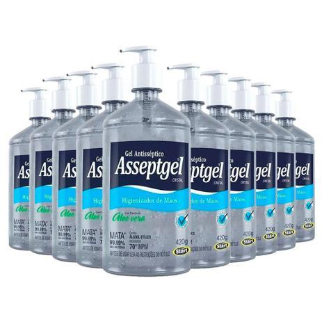 Imagem de Álcool Gel 70 Asseptgel Bactericida Higienizador de mãos - kit com 10 Frascos
